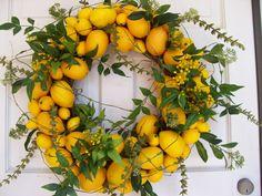 Lemon Wreathcheck shop announcement van DeLaFleur op Etsy