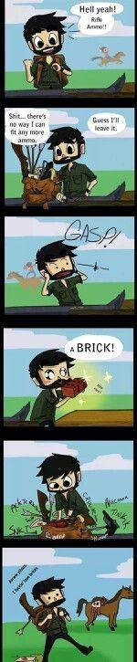 The Last of Us - Joel Freaking Loves Bricks i love Ellie in the backround
