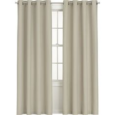 Wallace Flax Grommet Curtain Panel in Curtains | Crate and Barrel
