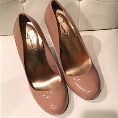 Patent Nude Jessica Simpson Pumps Very versatile. Great for work or play!! Worn twice, nude pumps (Heel height: 4.25 inches)  Jessica Simpson Shoes Heels