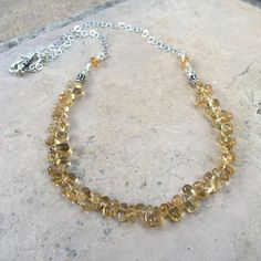 Citrine Necklace with Sterling Silver Chain by EastVillageJewelry