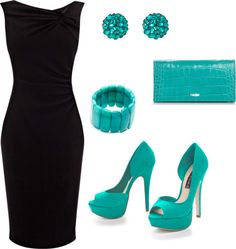 """Little Black Dress with Turquoise Accessories"" by heat27 on Polyvore"