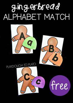 Free gingerbread ABC match. Such a fun winter alphabet activity for preschool or kindergarten!