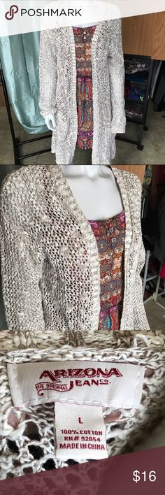 Arizona long sweater Cream and brown knit sweater is nice and long with pockets near bottom hem. About knee length depending on your height. Super cozy and comfortable cardigan! Great, lightweight sweater to stay warm! Arizona Jean Company Sweaters Cardigans