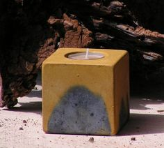No7 Cube Concrete  Tea Light Candle Holder by roughfusion on Etsy, $15.00