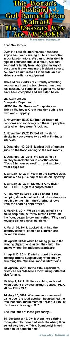 This Woman's Husband Got Banned From Walmart The Reasons Why Are Hilarious funny jokes story lol funny quote funny quotes funny sayings joke hilarious humor stories marriage humor funny jokes Really Funny, Funny Cute, The Funny, Super Funny, Funny Work, Freaking Hilarious, Funny Texts, Funny Jokes, Pranks Hilarious