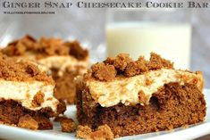 Ginger Snap Cheesecake Cookie Bars, soft gingerbread cookie on the bottom topped with smooth layer of cheesecake.