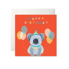 Koala Birthday Card by Helen Magee Hairy Fruit Art Birthday Cards, Happy Birthday, All Kids, Fruit Art, Cute Cards, Card Stock, Greeting Cards, Messages, Illustration