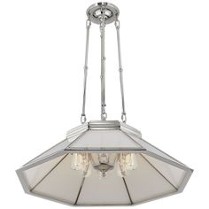Rivington Medium Eight-Paneled Chandelier in Polished Nickel with White Glass