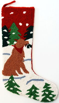 Golden Retriever Dog Hooked Christmas Stocking – For the Love Of Dogs - Shopping for a Cause