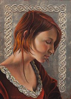 """Fred Wessel, Fred Wessel, """"Lauren (Study)"""" 2011, egg tempera and gold leaf, 7 x 5 inches"""