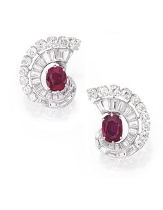 Pair of Platinum, Ruby and Diamond Earclips, Van Cleef Arpels Art Deco Jewelry, High Jewelry, Jewelry Accessories, Jewelry Design, Jewellery, Bling Jewelry, Jewelry Necklaces, Van Cleef Arpels, Van Cleef And Arpels Jewelry