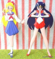 1990s : Japanese Anime / Shojo Manga : Sailor Moon : Sailor Venus & Sailor Mars Flat Figure Toys