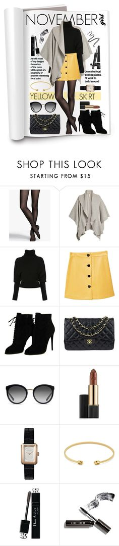 """""""Yellow Skirt"""" by gpatricia ❤ liked on Polyvore featuring Express, Burberry, Creatures of the Wind, MANGO, Tom Ford, Chanel, Dolce&Gabbana, Estée Lauder, Gucci and Christian Dior"""
