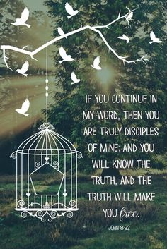 If you continue in my word, then you are truly disciples of mine; and you will know the truth, and the truth will make you free. John 8:32  Just as a bird is freed from it's cage we too can experience this kind of freedom if we continue in His word.