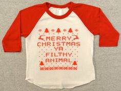 """3/4 Sleeve """"Ugly Christmas Sweater"""" Baby T-shirt:  Merry Christmas ya Filthy Animal American Apparel Raglan Tee"""