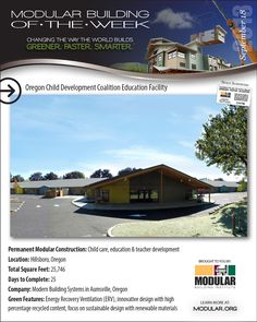September 18, 2013 - Modular Building of the Week - The Oregon Child Development Coalition Education Facility -Modern Building Systems