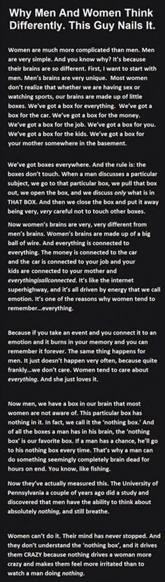 Funny pictures about The Reason Men And Women Think Differently. Oh, and cool pics about The Reason Men And Women Think Differently. Also, The Reason Men And Women Think Differently photos. Books And Tea, Funny Quotes, Life Quotes, Funny Humor, Men Vs Women, Man Vs, Good To Know, The Funny, Life Lessons