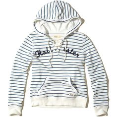 Hollister Lace-Up Graphic Hoodie ($40) ❤ liked on Polyvore featuring tops, hoodies, blue stripe, sweatshirt hoodies, lace up hooded sweatshirt, striped hoodie, white hooded sweatshirt and graphic hoodies