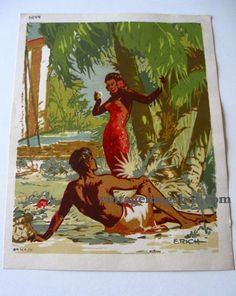 Vintage Hawaii Hawaiiana litho VINTAGE 40s by SherwoodsTreasures, $72.00