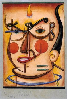 Muy Mago (portrait of Aleister Crowley) - Xul Solar 1961 Aleister Crowley, Max Ernst, Rene Magritte, Art Database, Joan Miro, Illustrations, Cubism, Surreal Art, American Artists