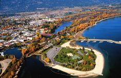 Best Idaho Destinations for Fall in Idaho > Aerial View of Sandpoint, Idaho in Fall - Idaho Travel Council
