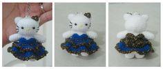 Crochet hello kitty blue dress keychain