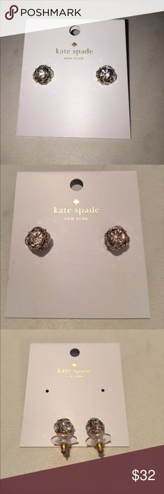 Kate Spade Lady Marmalade Clear/Gold Earrings Brand New! Kate Spade Lady Marmalade Clear and Golf Earrings kate spade Jewelry Earrings
