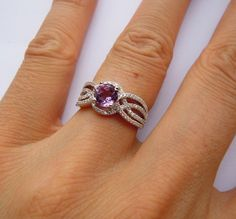 Ladies Sterling Silver Engagement by SterlingSilverJewels, $85.00 With a diamond that'd be pretty Silver Diamonds, Diamond Engagement Rings, Heart Ring, Amethyst, Lavender, Trending Outfits, Unique Jewelry, Sterling Silver, Handmade Gifts