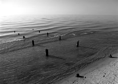 Black and White Photography, Lake Michigan, Wall Art, Beach, Great Lakes, Waves, Sand, Shore, Black and White, Pier, Dock, Pilings, Nautical by GreatLakesViews on Etsy