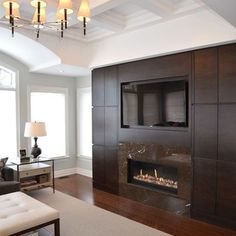 gas fireplace designs with tv above - Google Search