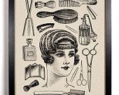 Vintage Woman and Toiletries, Home, Kitchen, Nursery, Bath, Office Decor, Wedding Gift, Housewarming Gift, Unique Holiday Gift, Wall Poster