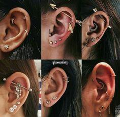 piercing na orelha inspo - pinart - Frauen Schmuck - Arte Contemporânea Ear Piercings Chart, Pretty Ear Piercings, Piercing Chart, Ear Peircings, Types Of Ear Piercings, Multiple Ear Piercings, Body Piercings, Ear Piercings Cartilage, Double Cartilage