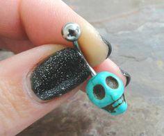 Anneau de nombril Skull turquoise par MidnightsMojo sur Etsy