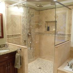 tiled walk in corner showers - Google Search