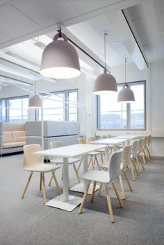 commercial office break room in light, bright modern with simple scandinavian style Office Break Room, Office Spaces, Home Office, Interior Architecture, Interior Design, Workspaces, Office Interiors, Scandinavian Style, Offices