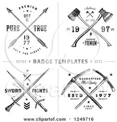 Clipart of Vintage Arrow Axe and Sword Label Designs with Sample Text - Royalty Free Vector Illustration by BestVector