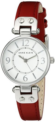 Anne Klein Women's 109443WTRD Silver-Tone White Dial and Red Leather Strap Watch -- You can find more details by visiting the image link.