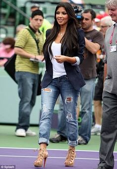 Nude lace-up heels, MediumWash distressed boyfriend jeans, White scoopneck tank, Black rolled blazer | Boyfriend Jeans And . . . (How To Style Your Boyfriend Jeans)