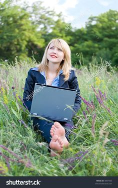 Photo about Businesswoman on grass with laptop and take off shoes. Image of eyes, meadow, flower - 4268457 Cute Toes, Pretty Toes, Joker And Harley Tattoo, Smart Casual Wear, Preteen Girls Fashion, Barefoot Girls, Elegant Girl, Foot Pictures, Girl Photo Poses