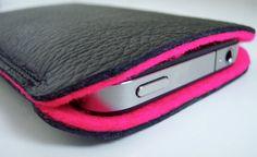 leather and felt phone case