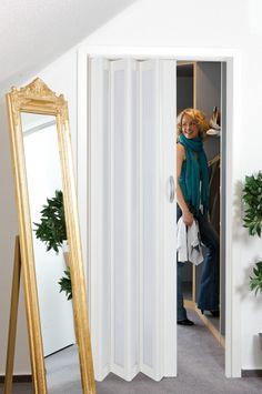 Folding door for the bathroom inside my room. Should be in white, with good quality and looks elegant! Bathroom Doors, Bathroom Wall, Bathrooms, Concertina Doors, Internal Folding Doors, Laundry Nook, Georgian Interiors, Diy Door, Closet Doors