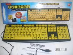 USB KEYBOARD by ALLSTAR PRODUCTS GROUP  Model:  EZ-EYES -  ZK-250 - For Use with WINDOWS 7, VISTA, XP, 2000, ME, 98, MAC OS9, OSX  - For USB Laptop, PC, MAC - Black KEYBOARD LARGE print/YELLOW KEYS EZ EYES ZK-250 ASOTV [MsFrugaLady on eBay, Buy before Listing ends 2/25/2014, technology, computer electronics accessories]
