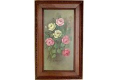 SOLD! Framed Oil on Board of Rose Bouquet on @One Kings Lane Vintage & Market Finds by Ruby + George