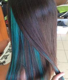 Under Hair Dye, Under Hair Color, Hidden Hair Color, Hair Color Underneath, Blue Hair Streaks, Blue Hair Highlights, Under Highlights, Dyed Hair Blue, Peekaboo Hair Colors