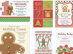 Gingerbread Holiday Party Invitations Holiday Party Themes, Holiday Party Invitations, Holiday Parties, Holiday Decor, Michael Christmas, Cookie Exchange Party, Winter Parties, Sweet Sixteen Parties, Candyland