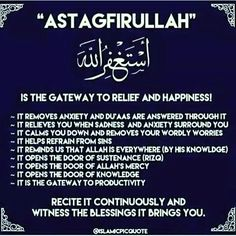 """Astagfer Allah"" is asking Allah for forgiveness. The more you say it, it erases your mistakes and sins Muslim / Islam / religion / guidance / truth Duaa Islam, Islam Hadith, Allah Islam, Islam Muslim, Islam Quran, Alhamdulillah, Allah Quotes, Muslim Quotes, Quran Quotes"