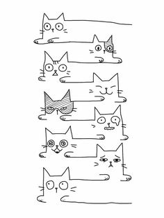 - Gatos – dibujos – – Dibujos – - Funny Cats Unlimited Lines by MemWear Cat Decal Set Vinyl Wall Decals Set of 7 Crazy Cats by Easy Drawing Tips In 2019 C. Doodle Drawings, Easy Drawings, Doodle Art, Cat Drawing, Painting & Drawing, Drawing Tips, Cat Crafts, Cat Art, Hand Lettering
