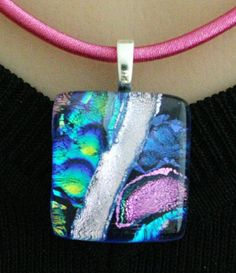 Mosaic Fused Glass Pendant Blue, Green, Pink,Silver and yellow by addicted2glassfusion.etsy.com, $22.00