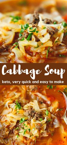 Keto Cabbage Soup Recipe very quick and easy to make nutritious and delicious soup made with cabbage ground beef and tomatoes Hearty one pot a family favorite perfect for the cold weather # Cabbage And Beef, Cabbage Roll Soup, Cabbage Casserole, Recipe With Ground Beef And Cabbage, Meals With Cabbage, Keto Recipe With Ground Beef, Quick Ground Beef Recipes, Beef Casserole, Beef Soup Recipes